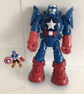 "Captain America Mech Armour Playskool Heroes imaginext With Mini Figure 11"""