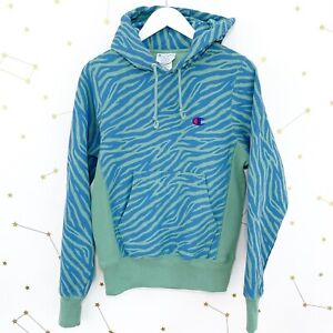 Champion Urban Outfitters Hoodie Size XS Green Tiger Print Reverse Weave Ltd Ed