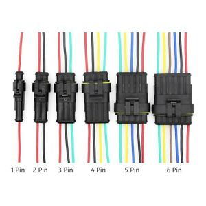 1-6 Pin/Way Waterproof Male/Female Connectors + Attached Wire Cable Plug Sealed