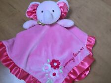 """Carters Pink Elephant Lovey Baby Security Blanket Mommy Loves Me 15"""" Plush Minky"""