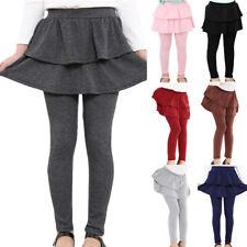 Kids Girls 2 In 1 Ruffle Skirt Leggings Trousers Pants Bottoms Tiered Skeggings