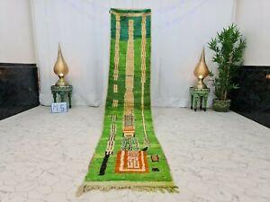 "Moroccan Boujaad Handmade Runner 2'2""x10'7"" Berber Abstract Green Orange Rug"