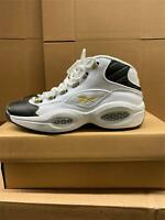 Reebok Question Mid Basketball Allen Iverson Black White Gold Toe EF7599 - US 11