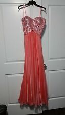 Brand New Women Off 5th Avenue La Femme Coral Silver Formal Prom Dress Size 4