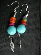 Handmade Native American Indian Sterling Silver dangle Turquoise Coral earrings
