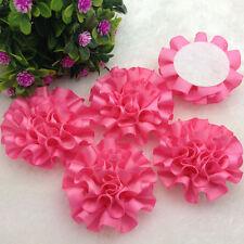 5pcs Pink color satin ribbon big Peony Flower Appliques/Wedding/decoration#