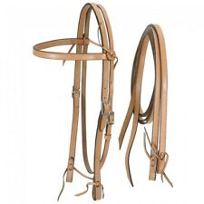 Western Natural Leather Set of Headstall and Plain Leather Reins