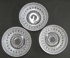 """Vintage Pressed Glass Set 3 Berry Bowls Nappies 5.5"""" Sawtooth Edge Wreath Center"""
