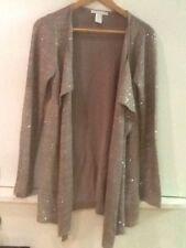 Women's Design History Brown Taupe Sequin Open Front Long Sleeve Sweater Size S