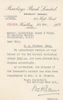 BARCLAYS BANK LIMITED, Wembley Branch 1935 re Deceased Balance Letter Ref 46212