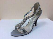 Lunar silver satin diamanté embellished open toe sandals, UK 7/EU 40, BNWB