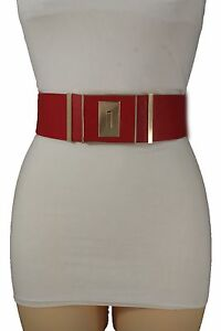 Hot Women Gold Metal Square Buckle Glamorous High Waist Hip Red Belt Plus M L XL