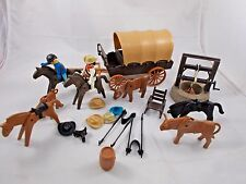 Playmobil Western Covered Wagon w/ Cattle Horses Cowboys Lot