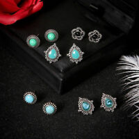 5Pairs/Set Women Fashion Turquoise Earrings Jewelry Ear Stud Boho Earrings Gift