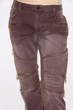 New Men's ROBIN'S JEAN sz 36 Style #SP50158 THE SHOW -Moto Slim Fit Jeans -BROWN