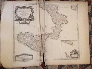 ROYAUME DE NAPLES ET DE LA SICILE. CARTE DE LA PARTIE MÉRIDIONALE. XVIIIéme.