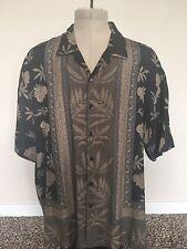 Men's Hawaiian Shirt Baracuta Button Down 100% Silk Black With Tan Print sz XXL