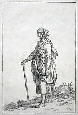 Johann Gottlieb Friedrich Unger ORIGINAL WOODCUT Bettlerin Old Woman 1779