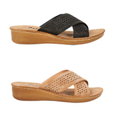 Search | Exist | Womens low wedge slide crossover straps | Spendless