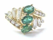 Grün Emerald & Diamantring 14Kt Gelbgold Oval & Baguette 5.75 .97Ct