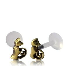 "BRASS CAT TRAGUS HELIX 16G 5/16"" inch 8mm INTERNAL BIOPLAST LABRET EAR STUD"