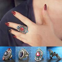 Women Ring Turkish Crystal Rhinestone Sapphire Wedding Party Gift Retro Ring Men