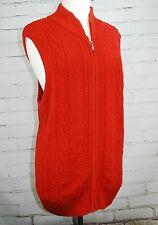 Pendleton Womens Plus 2X Chunky Sweater Vest 100% Cotton Knit Zip Front V-Neck