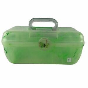 Vintage Caboodle Color Collisions Organizer Green Marble Makeup Case Mirror Box