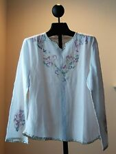 NWT GEETA White Cotton Hand Embroidery  Bohemian Top Tunic Kurta 1 Size Fits S M