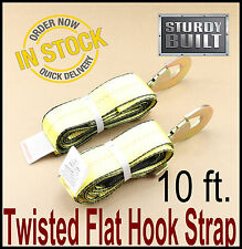 "2x Wheel Lift Repo Crossover Strap 2""x10' Tow Truck Flatbed Hauler Hook Straps"