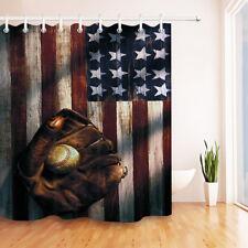US Flag Honor Baseball Shower Curtain Set Bathroom Waterproof Fabric Bath Decor