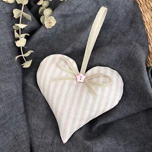 Peony and Sage Blush Pink Eva Candy Stripe Linen Lavender Filled Heart Hanger