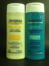 1 SET ASEPXIA FACE WASH+MEDICATED BODY WASH/GELES FACIAL+CORPORAL MEDICADO ACNE