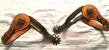 Very Nice Vintage Pair Heavy Etched Blued Spurs, Leather Straps