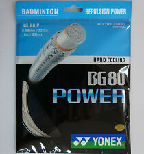 5 pkts  YONEX Badminton String BG80 Power, BG 80P, White Colour