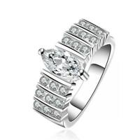 frauen solide schmuck versilbert kubische zirkon die natürlichen kristall ring