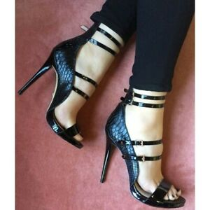 Womens High Heels Strappy Peep Toe Stiletto Shoes Fashion Sexy Snake Pattern