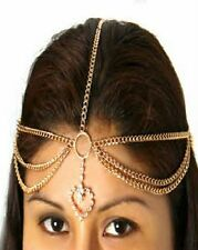 ETHNIC Tribal Gypsy Belly Dancer GOLD PLATED HEAD CHAIN PIECE HEART ACCENT New