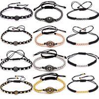 4mm Eyes Beads Black Rope Handmade Macrame Bracelet Bangle Men's Jewellery Gift