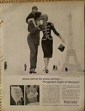 1957 Warners girdle bra Chanel suit Paris scenery women's fashion ad