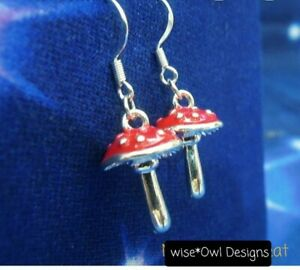 Fairy toadstool mushroom earrings. Sterling silver 925 earring hooks.Gift boxed.