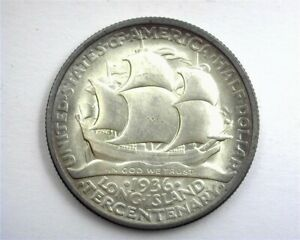 1936 LONG ISLAND SILVER 50 CENTS GEM+ UNCIRCULATED NICE TONING!!