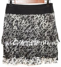 ANN TAYLOR Size 0  BLACK & WHITE LACE & FRINGE LAYERS STRAIGHT SKIRT Above Knees