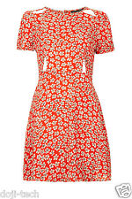 Topshop Red Floral Daisy Cut Out Vtg Mini Summer Skater Tea Day Dress 10 38 US6