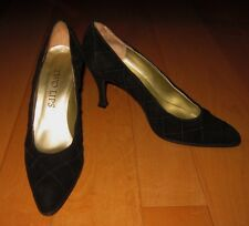 Two Lips Womens Black Suede Leather Heels Made In Spain 7 B