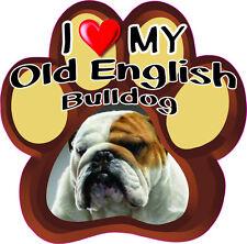 I Love My Old English Bulldog Cute Dog Bumper sticker Paw #210