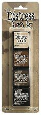 TIM HOLTZ Ranger DISTRESS Mini Ink Kits 3 Antique Linen Photo Walnut Black Soot