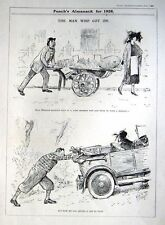 "1927 Punch Art Deco D L GHILCHIP Motoring Cartoon Print - ""The Man Who Got On"""