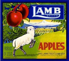Yakima Washington State Lamb Apple Fruit Crate Box Label Art Print