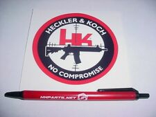 "HECKLER & KOCH FIREARMS NO COMPROMISE 4"" DECAL STICKER  with HK Pen"
